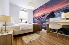 Colorful Sunset at Wild Coast on the Canary Islands Mural print