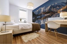 White in Black (Mont Blanc in Lac Noir), French Alps Mural print