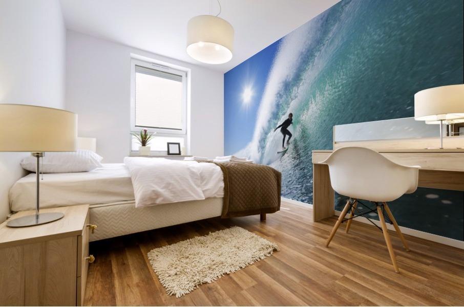 Surfer On Blue Ocean Wave Mural print