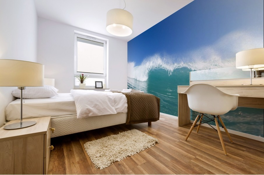 Blue Ocean Wave and Sunny Blue Sky Mural print