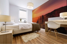 Sunset And Rock Formations Mural print
