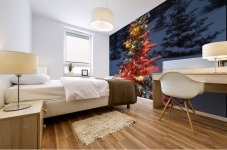 Christmas Tree With Lights Outdoors In The Forest Mural print