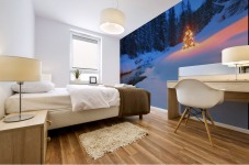 Glowing Christmas Tree By Mountain Stream Mural print