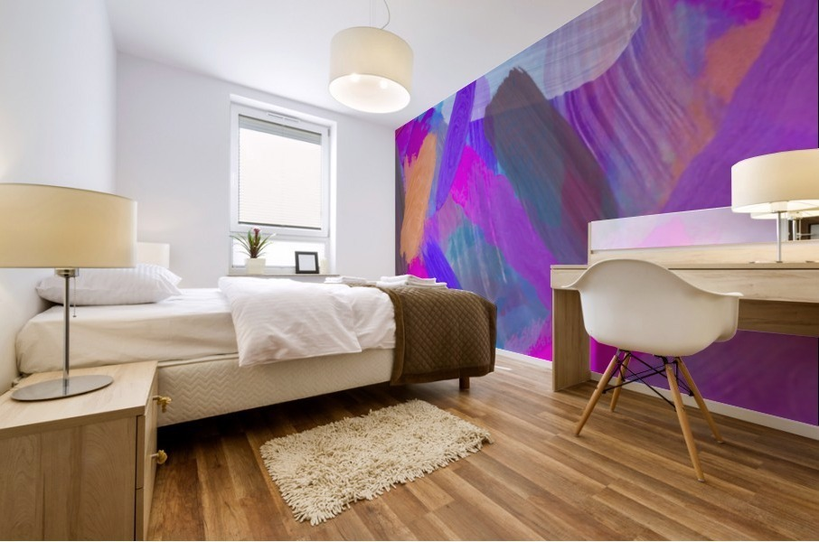 pink brown purple blue painting abstract background Mural print