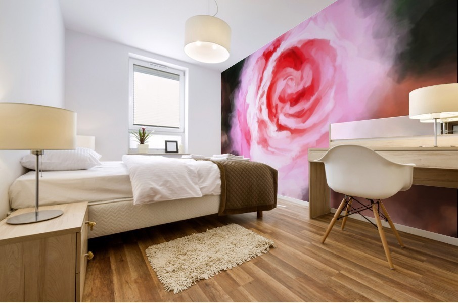pink rose with green and brown background Mural print