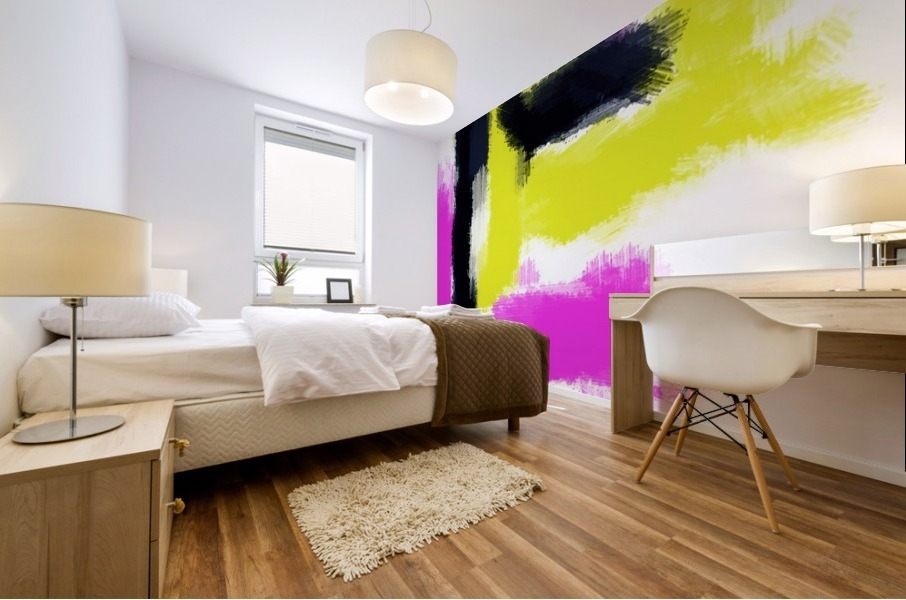 pink yellow and black painting abstract with white background Mural print