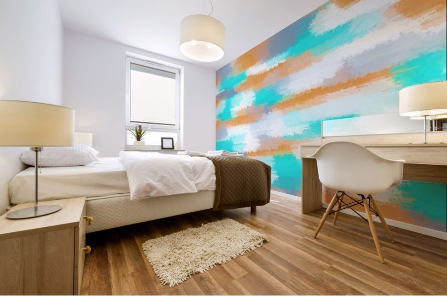orange and blue painting abstract with white background Mural print
