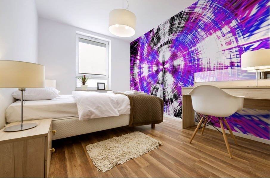 geometric pink blue purple and black circle plaid pattern with white background Mural print