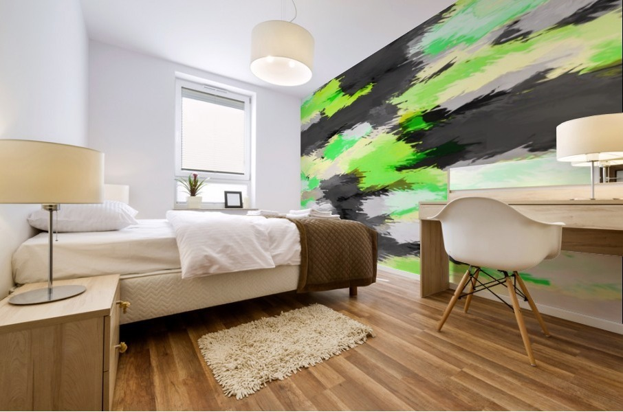 psychedelic camouflage splash painting abstract in green yellow and black Mural print
