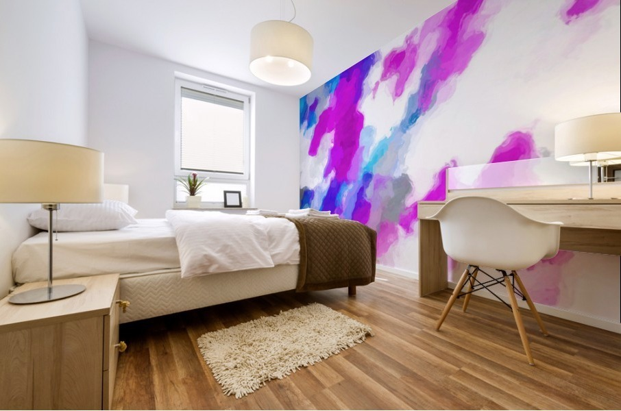 psychedelic painting texture abstract in pink purple blue yellow and white Mural print