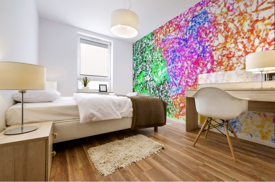 psychedelic splash painting abstract in pink purple green blue orange and yellow Mural print