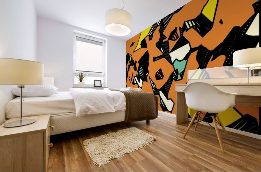 grunge geometric drawing and painting abstract in brown yellow and black Mural print