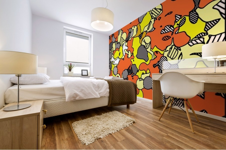 psychedelic drawing and painting abstract in orange and yellow Mural print