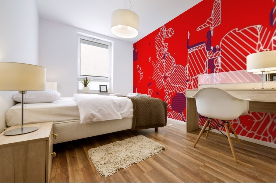 graffiti drawing and painting abstract in red and blue Mural print