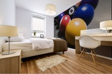 Pool Balls On A Billiard Table With The Eight Ball Facing Upwards Mural print