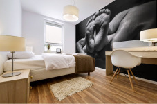 Adult Hands Holding Bare Baby Feet Mural print