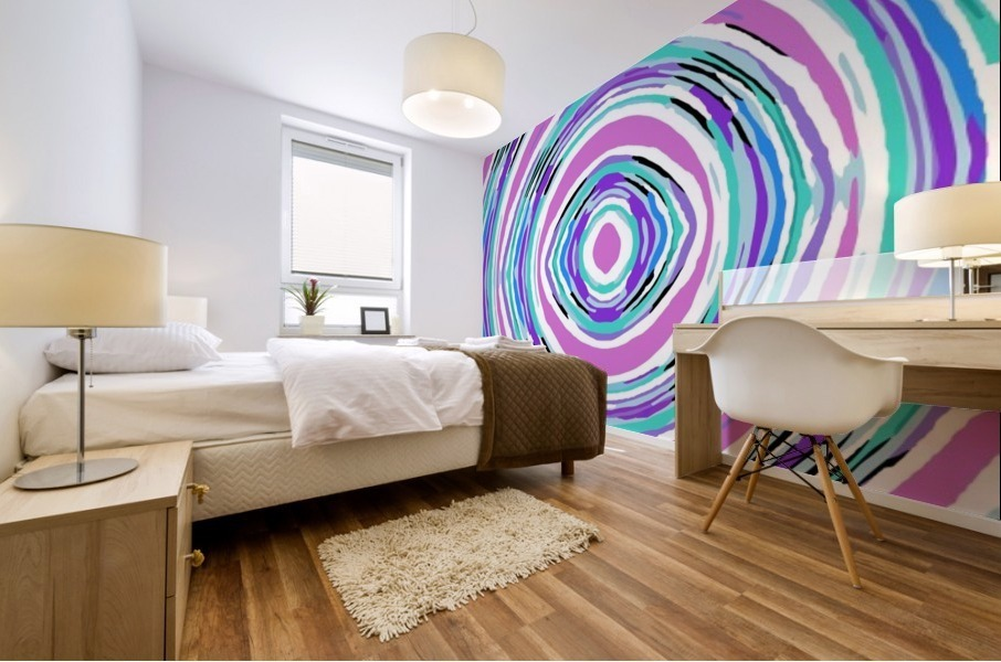 psychedelic graffiti circle pattern abstract in pink blue purple Mural print