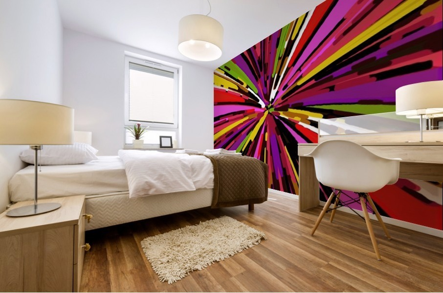 psychedelic geometric graffiti line pattern in pink purple yellow green red Mural print