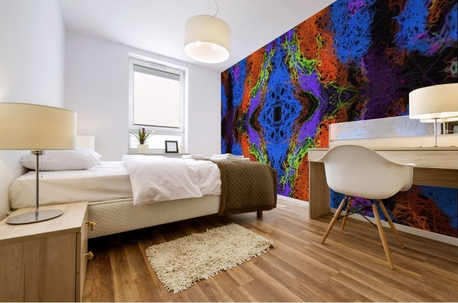 psychedelic graffiti geometric drawing abstract in blue purple orange yellow brown Mural print