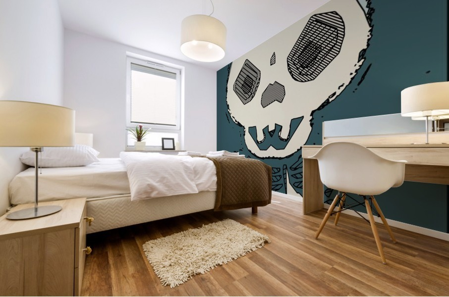 skull and bone graffiti drawing with green background Mural print