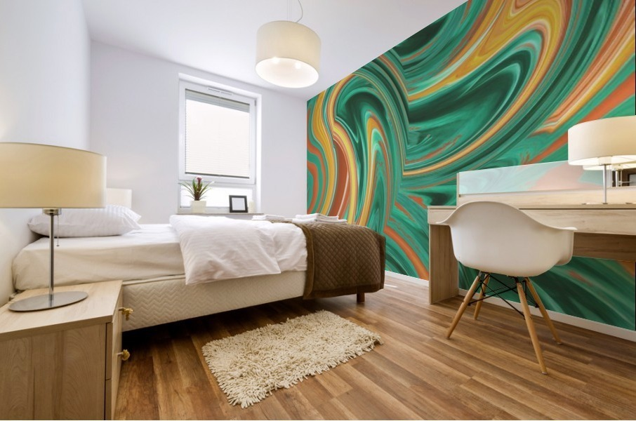psychedelic graffiti wave pattern painting abstract in green brown yellow Mural print