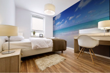 Northwestern Hawaiian Islands, Midway Atoll, Sand Island, Turquoise Ocean And White Sand Beach. Mural print