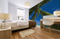 USA, Hawaii, Oahu, Palm tree over Pacific ocean with Mokulua island in background; Lanikai Mural print