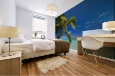 USA, Hawaii, Oahu, Mokulua island in background; Lanikai, Palm tree over Pacific Ocean Mural print