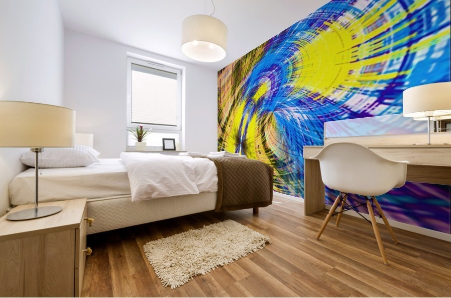 geometric psychedelic splash abstract pattern in blue and yellow Mural print