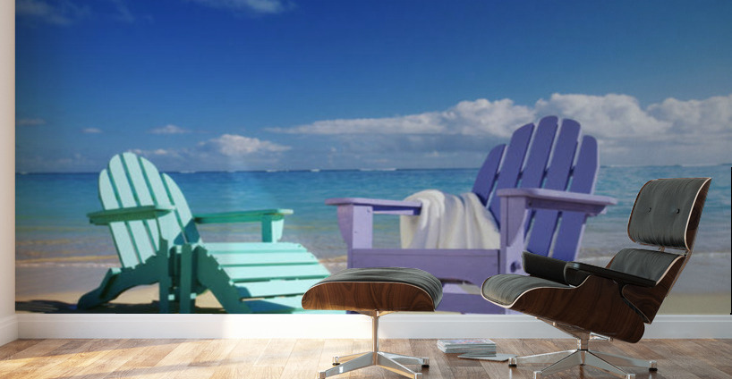 Colorful Beach Chairs On Calm Waves Washing As Turquoise Water Wall Murals