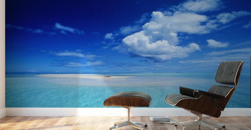 French polynesia bora bora view of turquoise lagoon sand for Bora bora wall mural