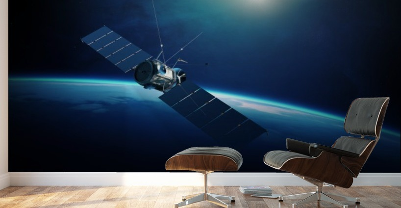 communications satellite orbiting earth johan swanepoel canvas