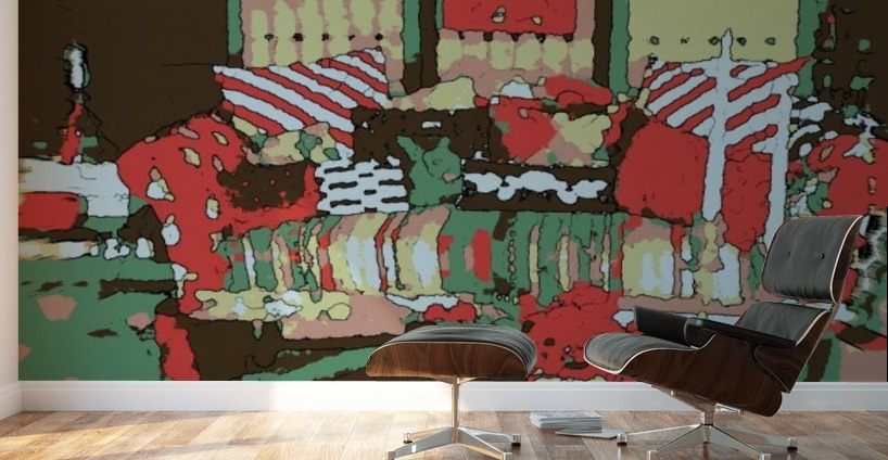 The Striped Sofa Red Verdigris Wall Murals