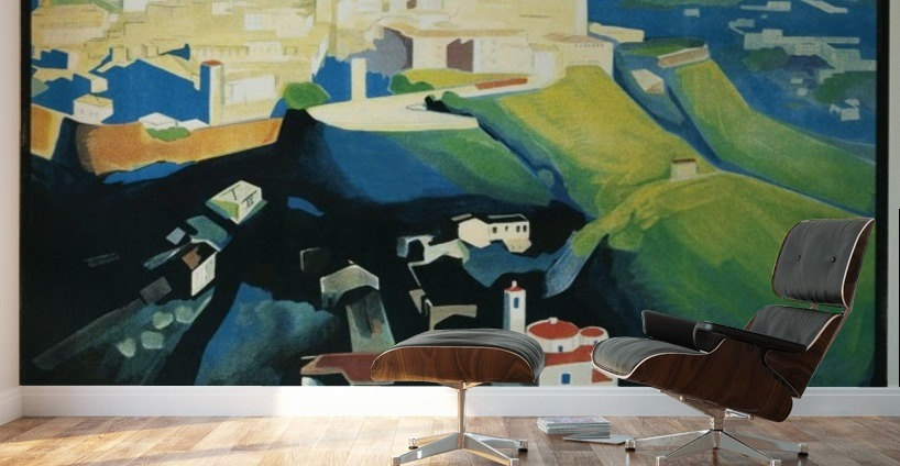 Bergamo art deco vintage italian travel poster vintage for Poster mural zen deco