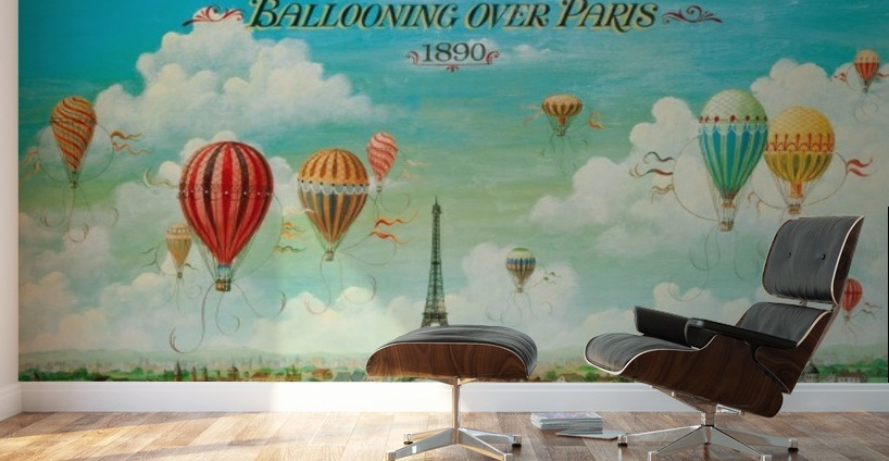 Ballooning Over Paris Vintage Poster Canvas
