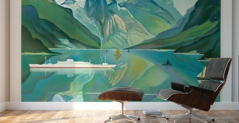 Norway Fjord Cruise Vintage Ocean Liner Travel Poster Wall Murals