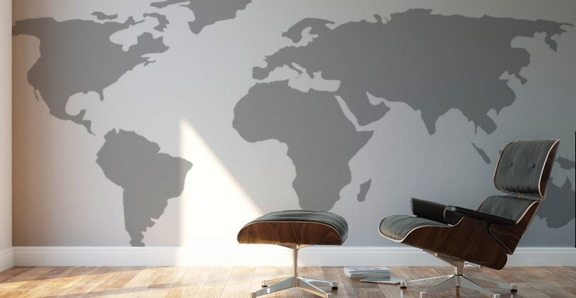 World map grey style worldflag canvas world map grey style wall murals gumiabroncs Images