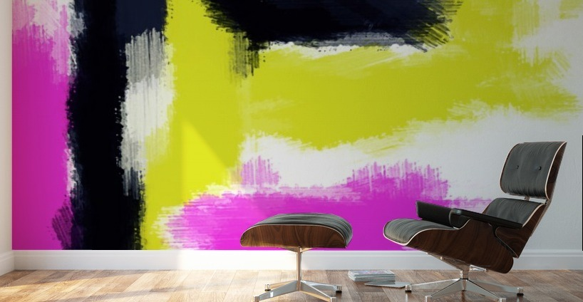 pink yellow and black painting abstract with white background ...