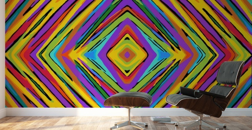 Psychedelic Geometric Graffiti Square Pattern Abstract In Blue Purple Pink Yellow Green Wall Murals