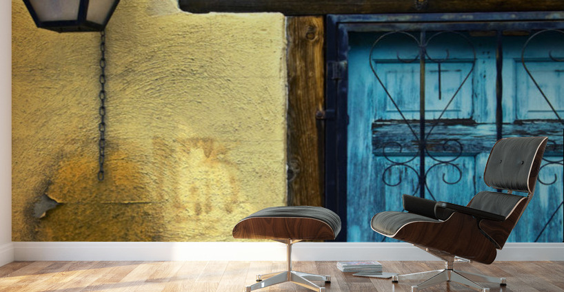 Walls And Details I, New Mexico, Details Of Old Blue Door And Yellow ...