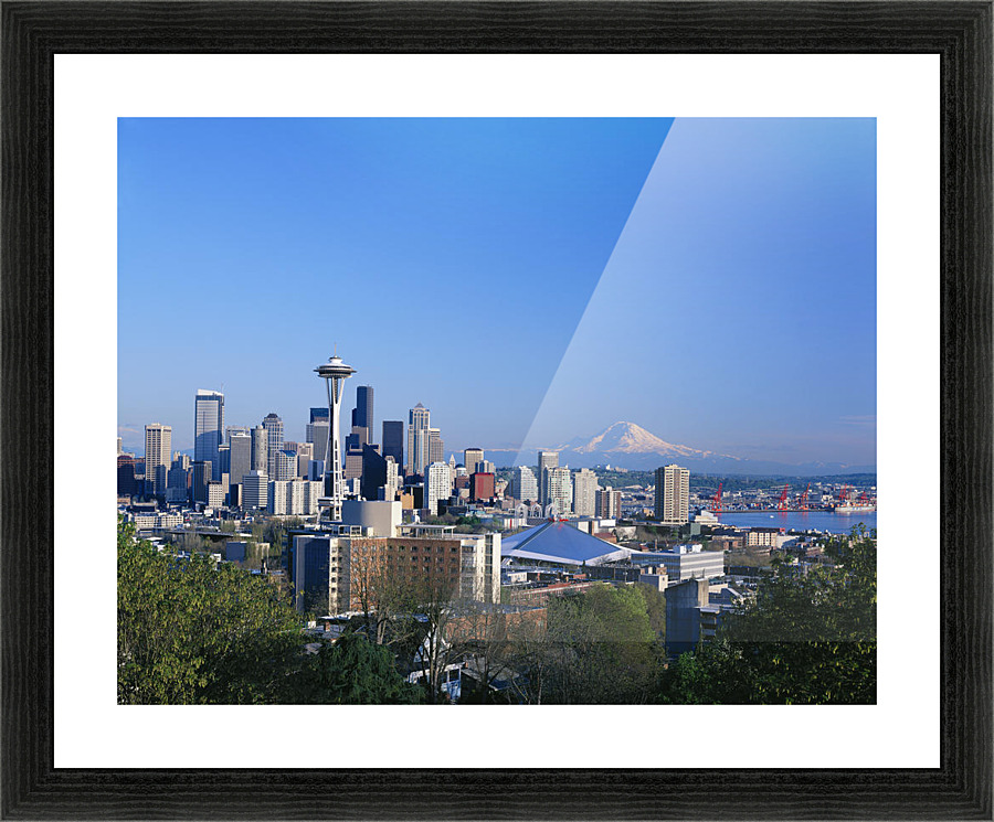 Washington, Seattle Skyline With Space Needle And Snowcapped Mount ...