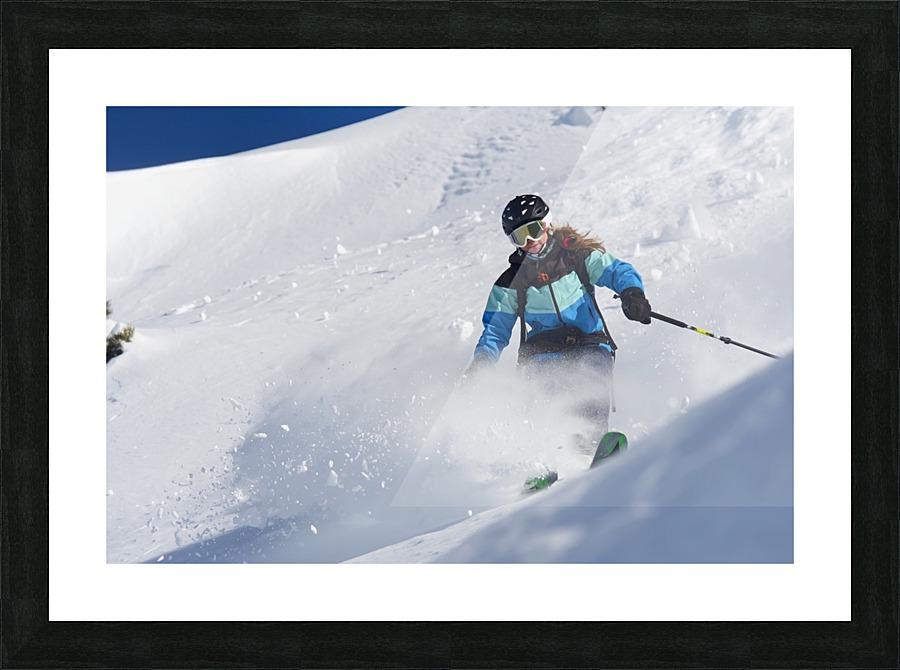 Skiing in powder snow; St. Moritz, Graubunden, Switzerland ...