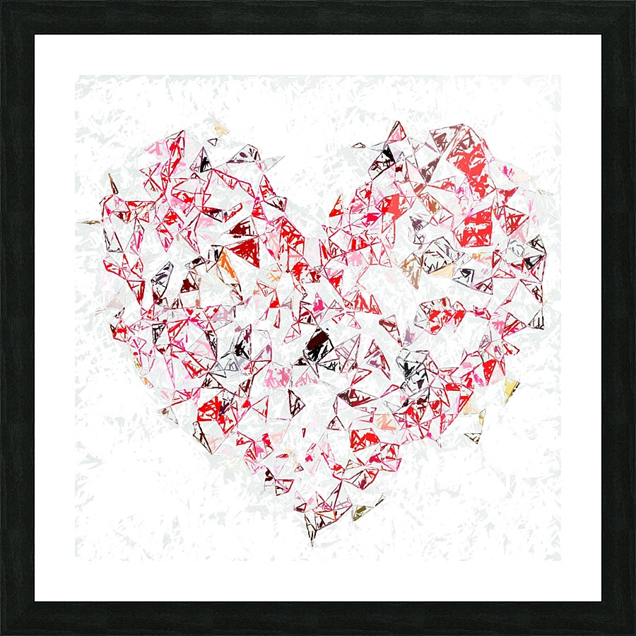 red heart shape abstract with white abstract background - TimmyLA Canvas