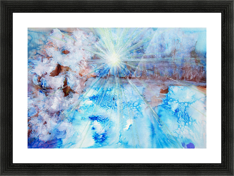 Abstract watercolour painting with a starburst - PacificStock Canvas