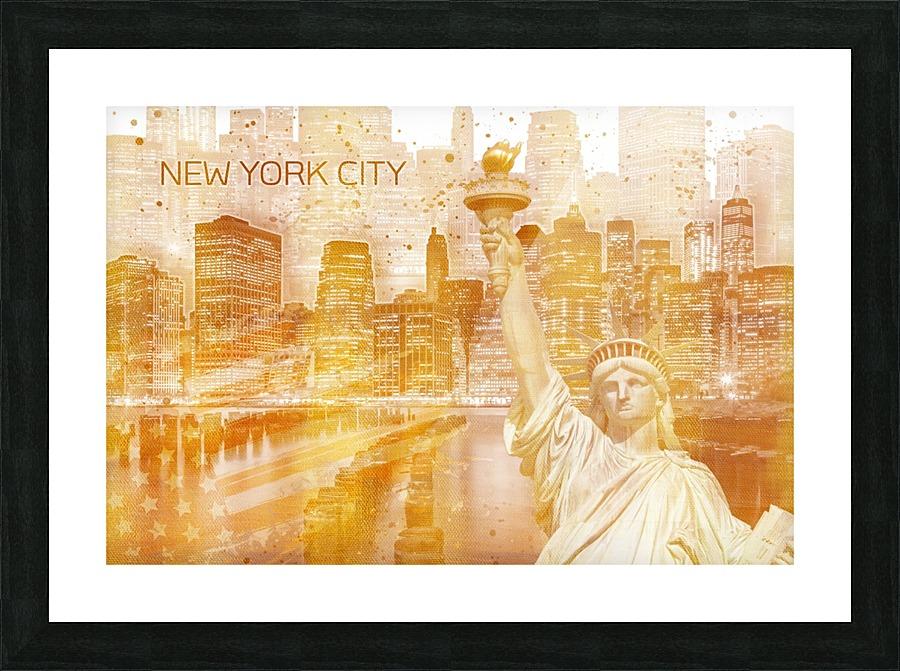 Graphic Art Manhattan Collage Golden Melanie Viola Canvas