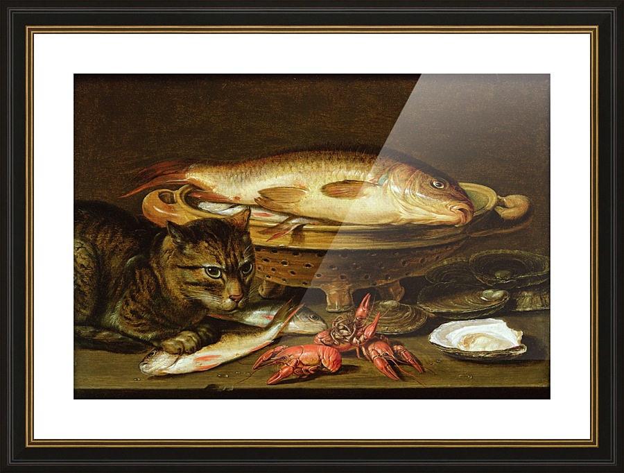 CARP FISH OYSTERS CRAWFISH SEAFOOD /& CAT PAINTING FOOD ART REAL CANVAS PRINT