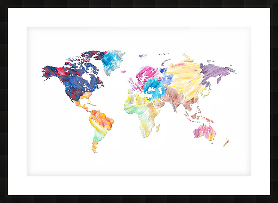 Abstract Colorful World Map - Art Design Works Canvas