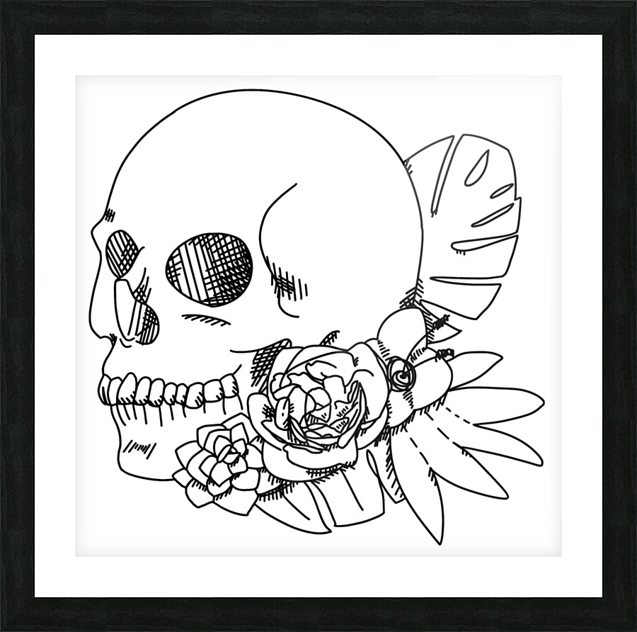 Skull and Flowers outline art , Puzbie , Canvas Artwork