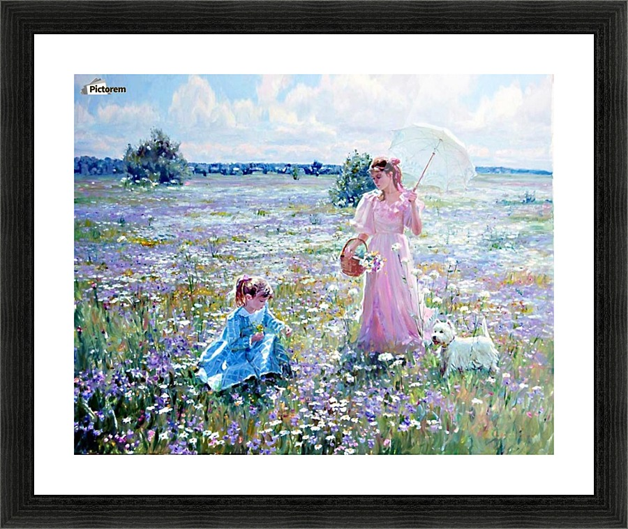 Mother and daughter on a field of flowers - Alexander Averin Canvas