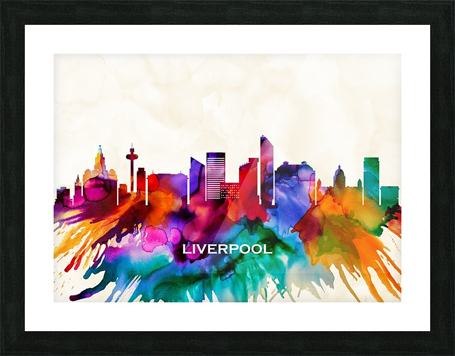 Liverpool Abstract Skyline Canvas Print Watercolour Framed Wall Art Picture